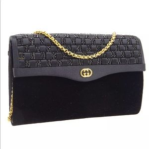 GUCCI Intrecciato Beads Chain Shoulder Bag Velvet